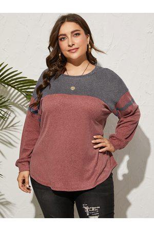 YOINS Plus Size Round Neck Color Block Long Sleeves Sweatshirt