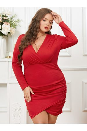 YOINS Plus Size Crossed Front Design Ruched Long Sleeves Dress
