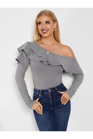 YOINS Ruffle Trim Double Layer One Shoulder Knitwear