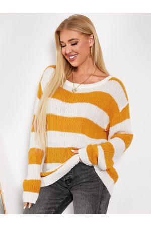 YOINS Striped Round Neck Long Sleeves Sweater