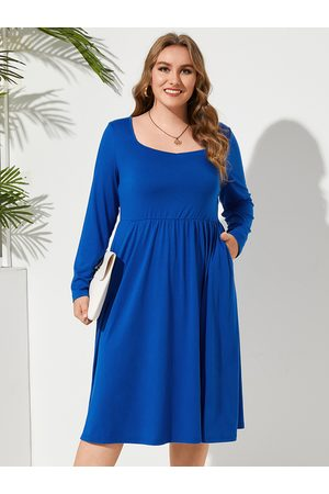 YOINS Plus Size Square Neck Pocket Long Sleeves Dress
