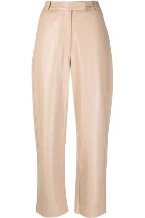 Frenken Blocked leather high-waisted trousers