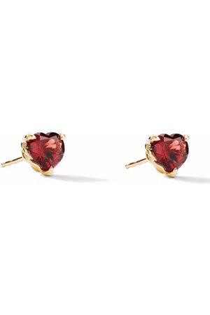 David Yurman 18kt yellow heart garnet stud earrings
