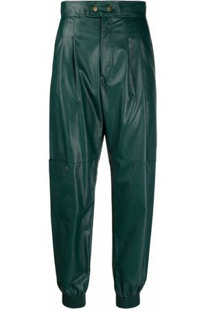 Twin-Set Pleat-detail faux-leather high-waisted trousers
