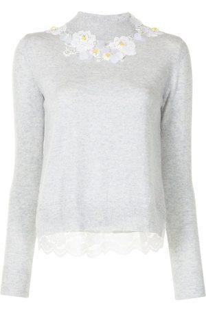 Onefifteen Women Jumpers - Floral- appliqué mock-neck knitted jumper