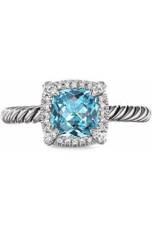 David Yurman Sterling Châtelaine blue topaz and diamond ring