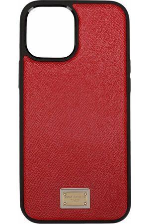 Dolce & Gabbana Women Phone Cases - Logo plate calfskin iPhone 12 Pro case