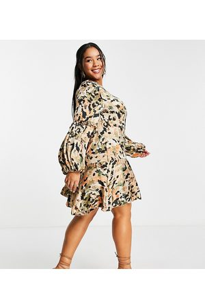 Outrageous Fortune Floral mini dress with balloon sleeves in multi
