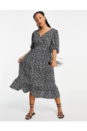 Miss Selfridge Jersey wrap midi dress in ditsy print