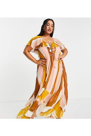 ASOS ASOS DESIGN Curve ruffle midi dress with lace up front detail in stripe print-Multi