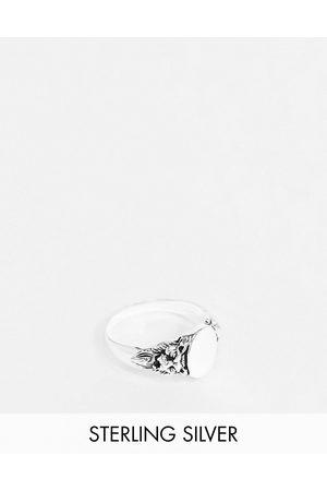 ASOS Sterling signet ring with lion design in burnished
