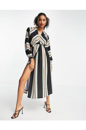 ASOS Wrap maxi dress in stripe print-Multi