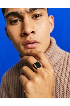ASOS Oversized signet ring with black agate stone in tone
