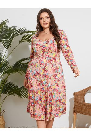 YOINS Plus Size Floral Print Ruched Long Sleeves Midi Dress