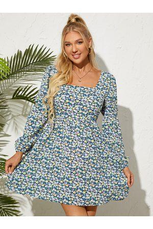 YOINS Calico Square Neck Shirring Long Sleeves Mini Dress