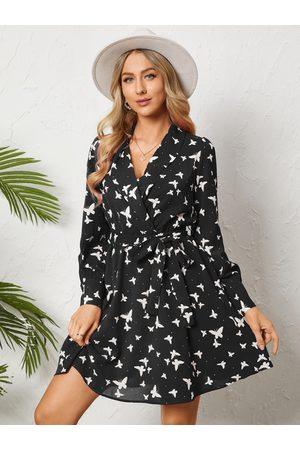 YOINS Butterfly Print Belt Design Tie-up Design Long Sleeves Mini Dress