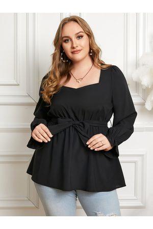 YOINS Women Blouses - Plus Size Belt Design Tie-up Design Long Sleeves Blouse