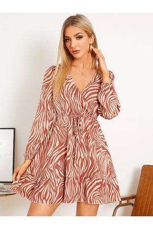 YOINS Women Printed Dresses - Zebra Stripe Tie-up Design V-neck Long Sleeves Mini Dress