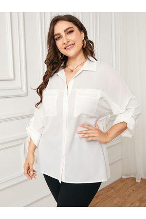 YOINS Women Blouses - Plus Size Classic Collar Button Design Pocket Blouse