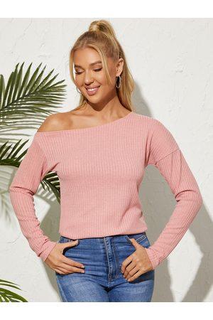 YOINS Women Long Sleeve - Basic One Shoulder Long Sleeves Knitwear