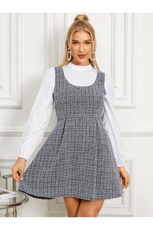 YOINS Women Dresses - Tweed Plaid Crew Neck Overall Long Sleeves Mini Dress