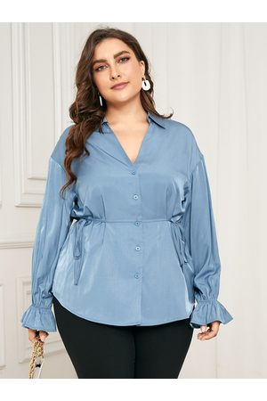 YOINS Plus Size V-neck Front Button Tie-up Design Long Sleeves Blouse