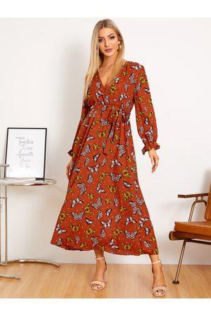 YOINS Belt Design V-neck Butterfly Tie-up Design Long Sleeves Maxi Dress