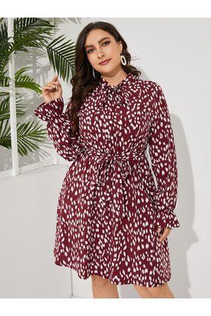 YOINS Women Midi Dresses - Plus Size Spotted Belt Design Tie-up Design Midi Dress