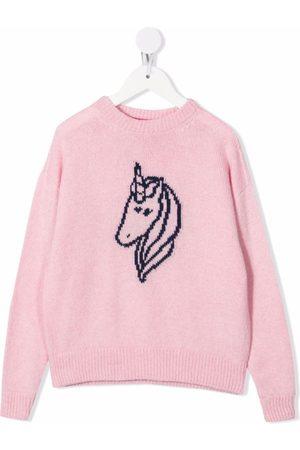 Ireneisgood Embroidered-unicorn crew neck jumper