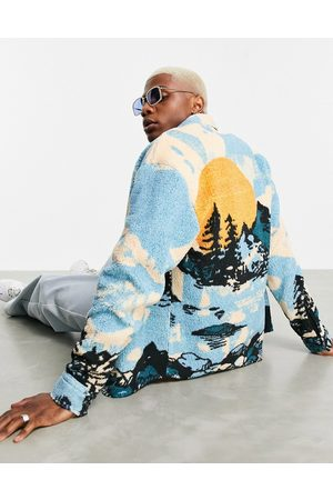 ASOS Men Casual - 90s oversized shirt in teddy borg with mountain print-Multi