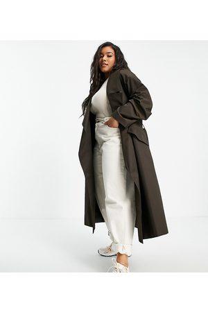 ASOS Women Trench Coats - ASOS DESIGN Curve waterfall trench coat in