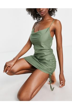 ASOS Women Beach Dresses - Fuller bust cowl neck beach mini dress in khaki