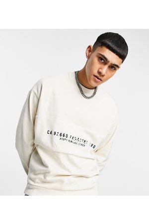 ASOS Men Sweatshirts - Oversized sweatshirt with reverse panel & text print in -Neutral