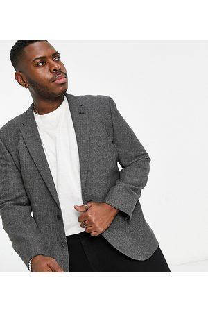 ASOS Men Blazers - Wedding skinny wool mix suit jacket in charcoal herringbone