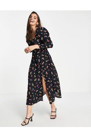 Miss Selfridge Women Casual Dresses - Sweetheart puff sleeve midi in colourful floral