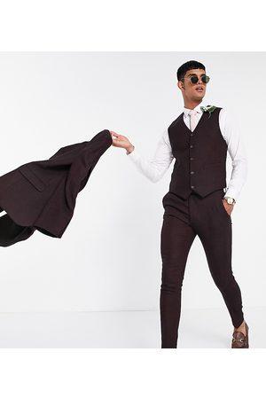 ASOS Wedding super skinny wool mix suit trouser in burgundy twill
