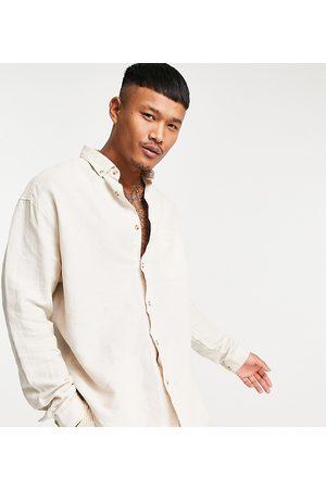 ASOS 90s oversized linen shirt in ecru-Neutral