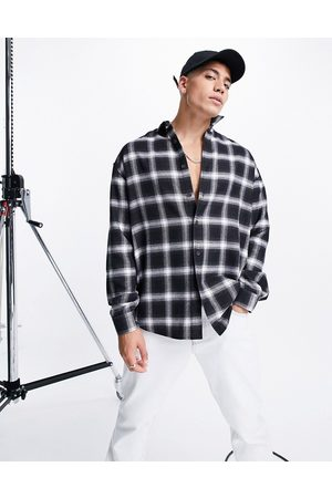 ASOS 90s oversized black and white shadow check shirt