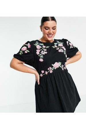 ASOS ASOS DESIGN Curve mini dress with puff sleeve and cross stitch embroidery in