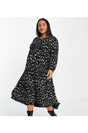 Yours Balloon sleeve midaxi dress in and white print