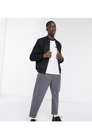 ASOS Wide leg trousers with pleats in charcoal