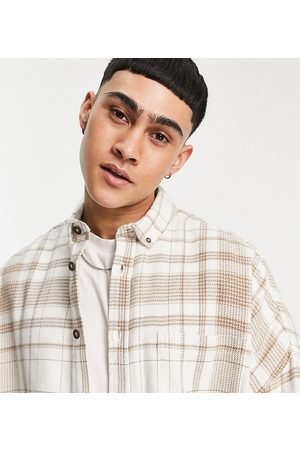 ASOS Volume overshirt in ecru and brown flannel check-Neutral