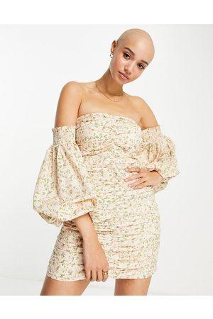 Miss Selfridge Ruched bardot mini dress