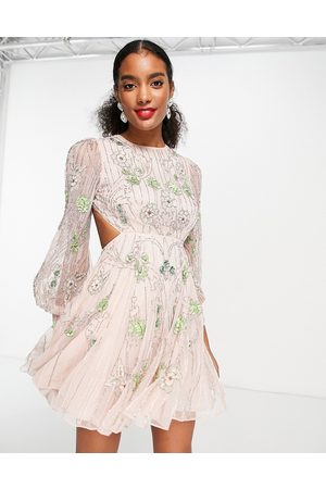 ASOS Floral embellished mini dress with cut out back