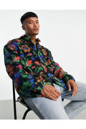 ASOS 90s oversized shirt in teddy borg with floral print