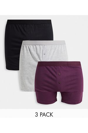 New Look 3 pack mock button boxer in burgundy multi