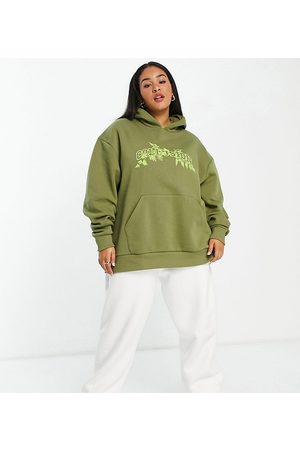 COLLUSION Plus branded hoodie co-ord in khaki