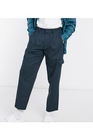 ASOS Cargo oversized tapered smart trousers in navy