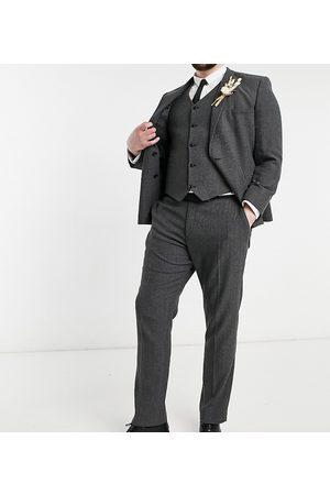 ASOS Wedding skinny wool mix suit trousers in charcoal herringbone