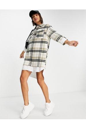 River Island Long sleeve checked hybrid shirt dress in -Neutral